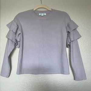 She + Sky Ruffled Sleeve Sweater Shirt